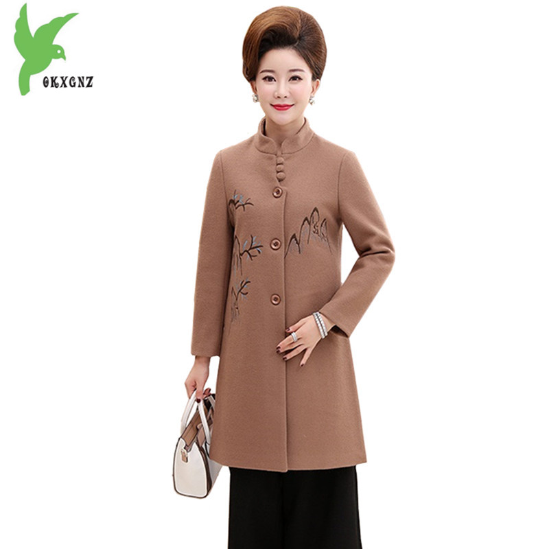 OKXGNZ Middle-aged Womens Woolen Coat Plus size 4XL Fashion Stand collar Embroidery Woolen cloth Outerwear Medium length Q072