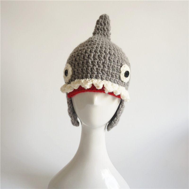 2018 New Creative Shark Pattern Kintting Wool Hats For Kids Boys