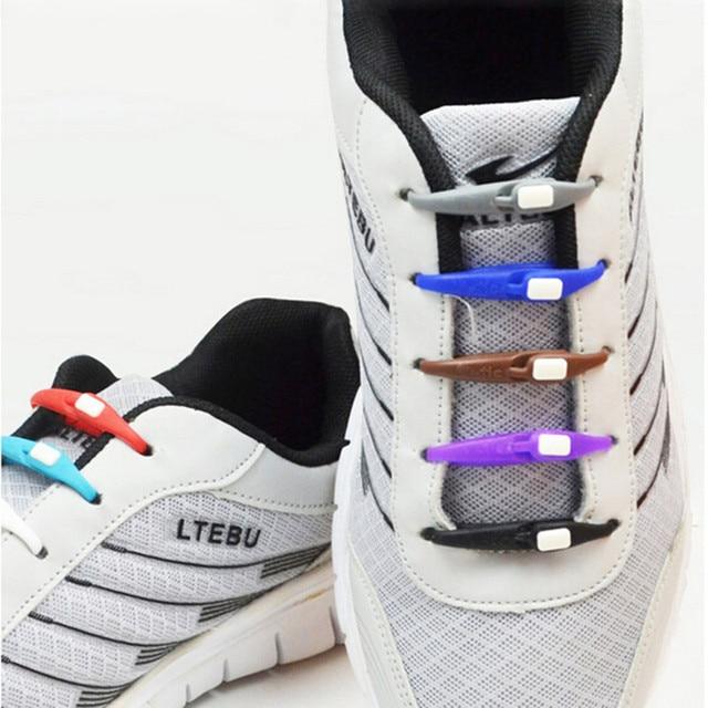 nueva llegada 3ad4c c9903 € 0.9  Cordones de silicona cuerda cordones de zapatos de cuero para  hombres mujeres 10 unids/lote zapatillas accesorios cuerda elástica plana  en ...