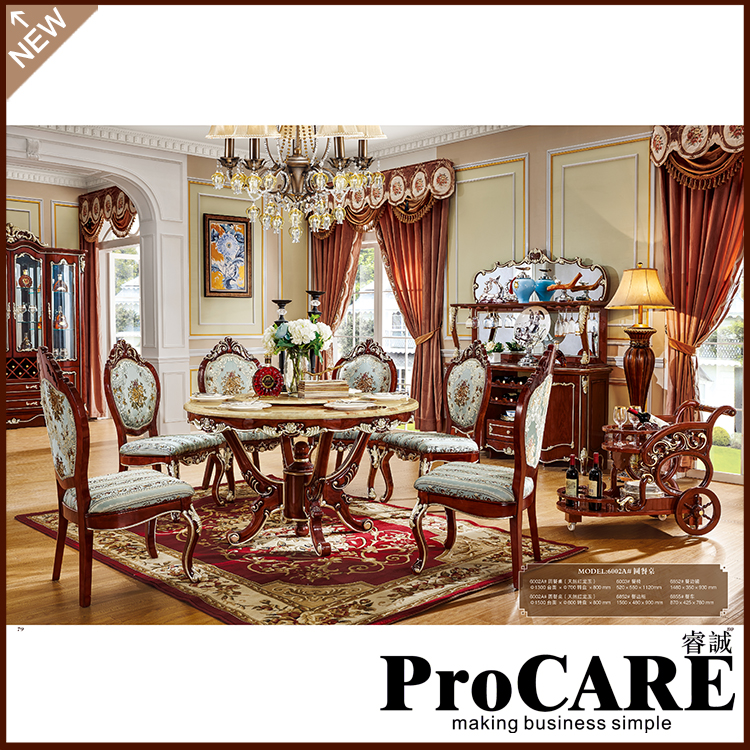 European design Classic Royal home furniture Solid Wood long dining room furniture using dining table