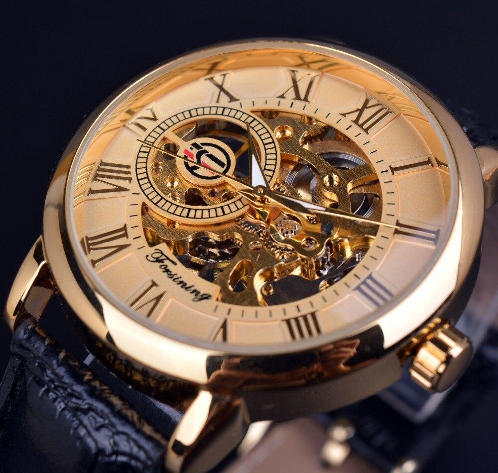 639466a2efe Forsining Literal Roman Esqueleto 3d Design Retro Mens Relógios de Grife  Relógio de Ouro Relógios De Pulso De Luxo Para Homens Relógio Mecânico Loja  Online ...