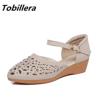 Tobillera Plus Size 43 Vrouwelijke Causale Lage Sleehak Dicht Sandalen Lederen Uitsparing Ademende Vrouwen Straat Schoenen