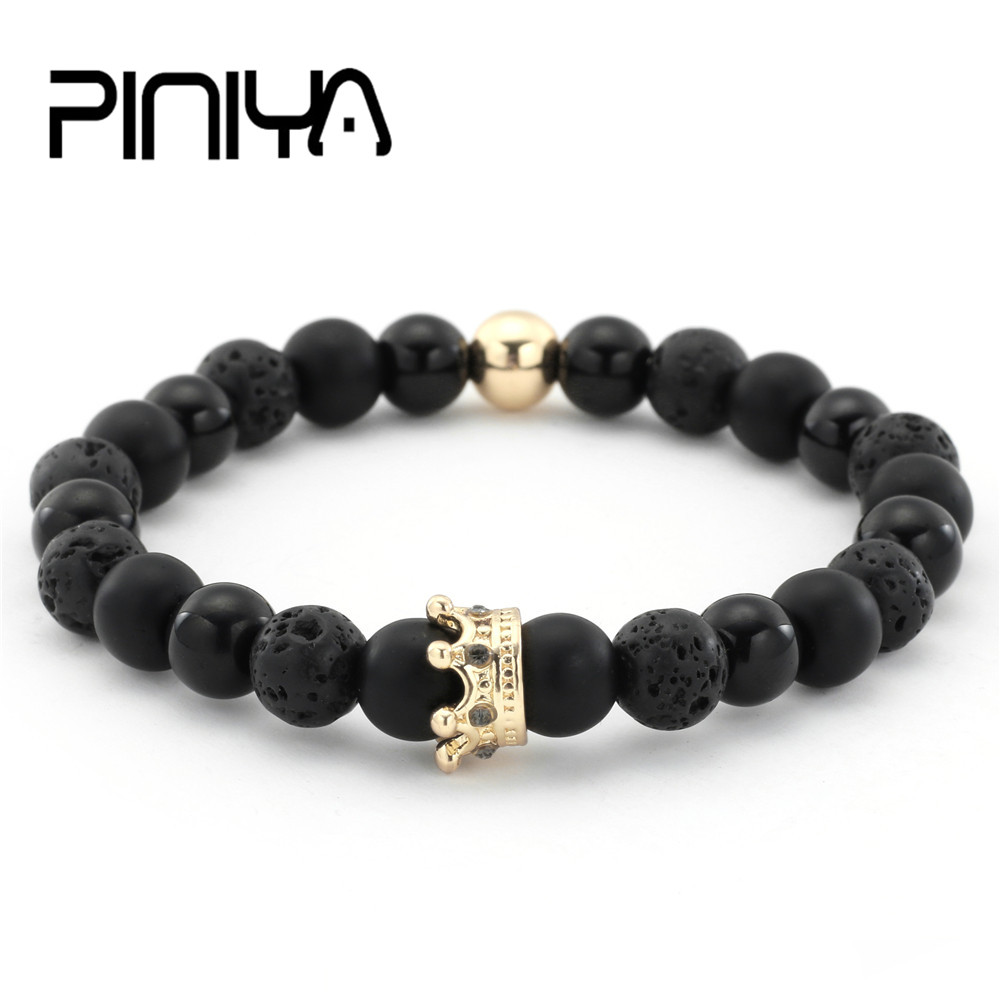 Couple His And Hers Bracelets Distance Black Matte & White Beads Crown King Charm Stone Bracelet Lovers
