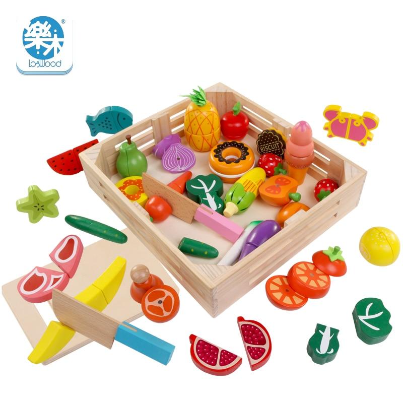 30 pièces en bois vraie vie Simulation cuisine jouets coupe fruits légumes ensemble pour enfants éducation précoce jouets alimentaires