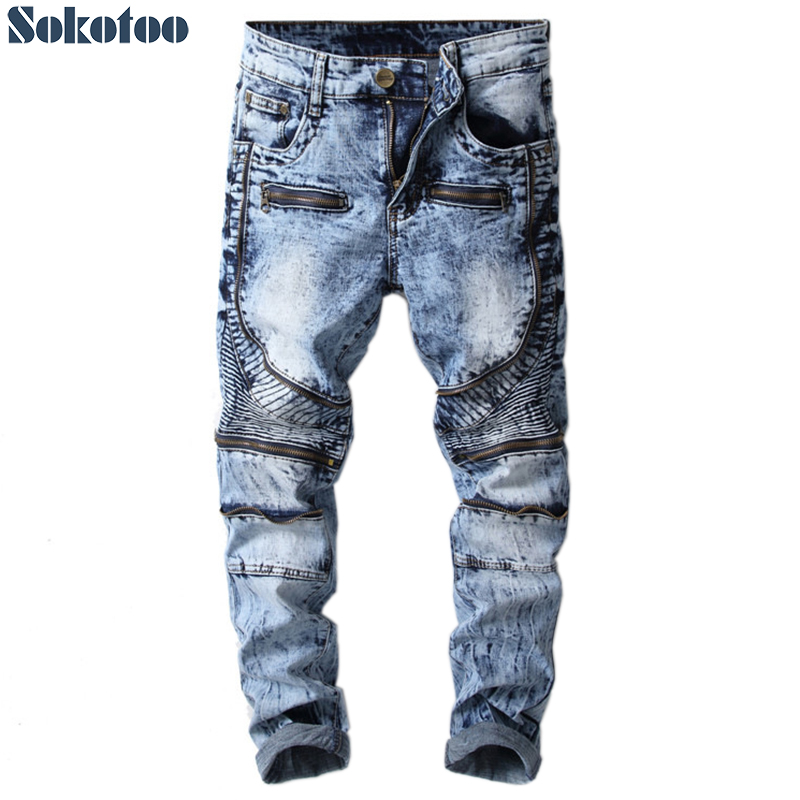 Sokotoo Men's zippers snow washed blue patchwork biker   jeans   for moto Mid waist slim stretch denim pants