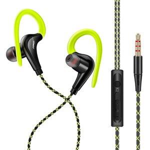 Image 3 - 3.5mm 귀에 매달려 스포츠 이어폰 1.25 m 귀고리 유선 헤드폰 아이폰에 대 한 스마트 폰 in ear 방수 헤드셋 마이크