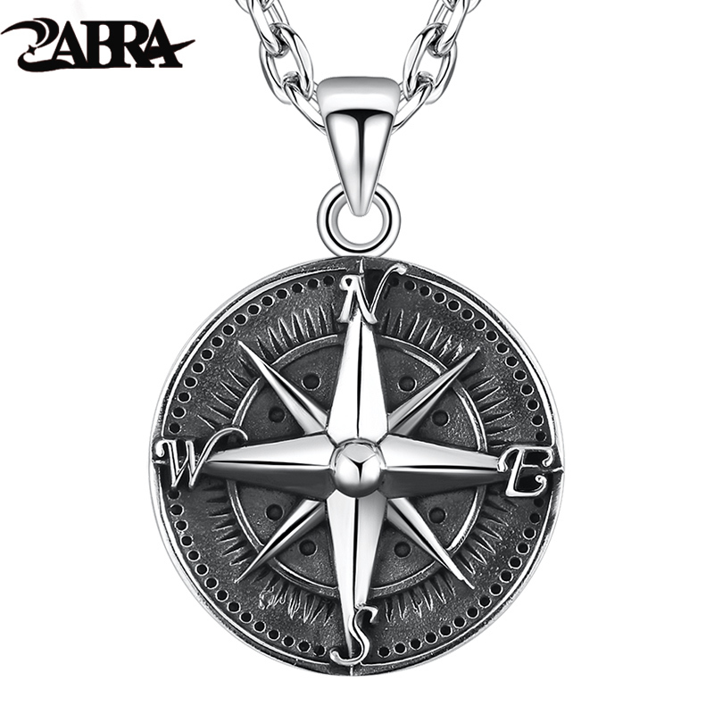 ZABRA Gothic Authentic 925 Sterling Silver Round Compass Pendant For Men Vintage Punk Rock High Polished Thai Silver Jewelry цена