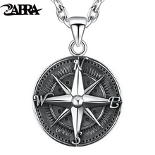ZABRA Gothic Authentic 925 Sterling Silver Round Compass Pendant For Men Vintage Punk Rock  High Polished Thai Silver Jewelry round aluminum compass silver
