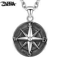 ZABRA Gothic Authentic 925 Sterling Silver Round Compass Pendant For Men Vintage Punk Rock High Polished Thai Silver Jewelry