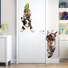 Cartoon Animals 3D Wall Sticker Cats Dogs Mouse Birds Door Stickers Funny Home Decor Kids Room Decoration Vinyl Wallpapers(China)