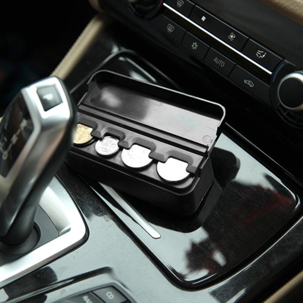 Black Plastics Car Coin Organizer Case Caja de almacenamiento de - Accesorios de interior de coche - foto 4