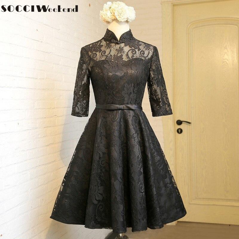 13f2310a331 SOCCI выходные черный Винтаж кружева платье для коктейля 2017 колено Длина  Половина рукава халат de Вечерние