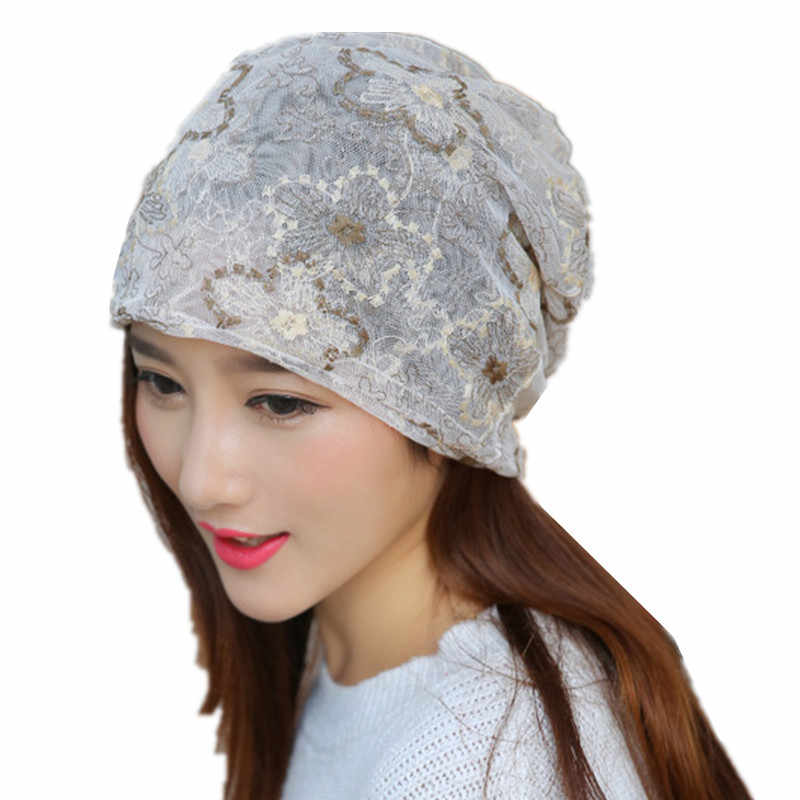 ... Thin section lace flower Dual use women hat scarf bald head chemical  cap lady Postpartum Month ... 25c16902305