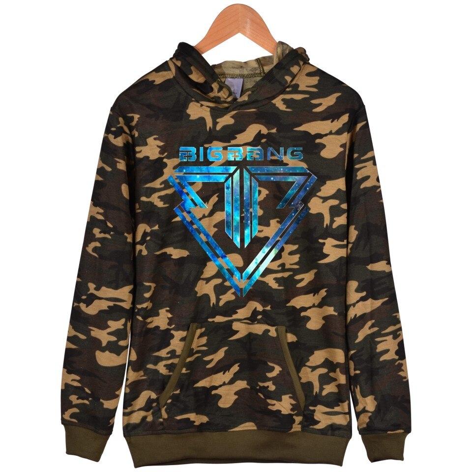 Kpop Bigbang Camouflage Hooded Sweatshirt Women Winter Popular G-DRAGON T.O.P Womens Hoodies Pullover Fashion Hip Hop Clothes