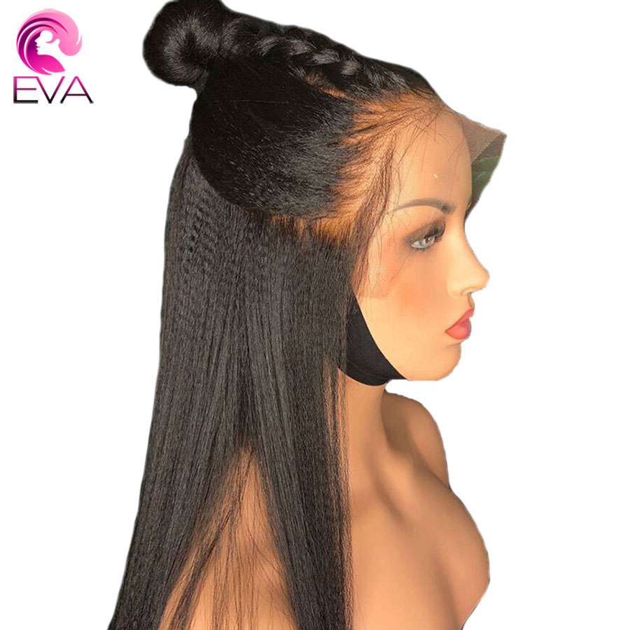 Eva Yaki Straight Full Lace Human Hair Wigs Pre Plucked Glueless With Baby Hair Bleached Knots Brazilian Remy Hair Wig For Women(China)