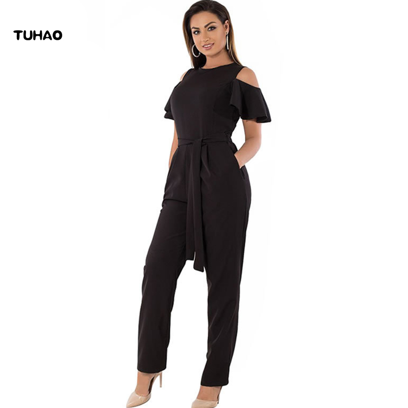 TUHAO Women Jumpsuits Plus Size 6XL 5XL 4XL 2018 Summer Bodysuit Casual Elegant Ladies Long Office Lady OL Rompers Overalls JX58