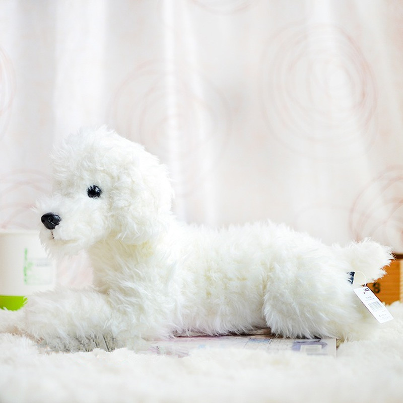 Plush toy white Teddy dog simulation animal birthday gift 36cm High quality forf for ar doll artificial animal plush toy simulation animal huge tiger doll about 110x 70cm plush toy high quality birthday gift christmas gift t3442