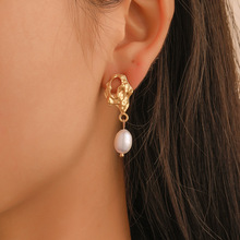 Simple Minimalist Jewelry Dangle Earrings For Women Irregular Simulated Pearl Drop Earring Gold Silver Small Pendientes