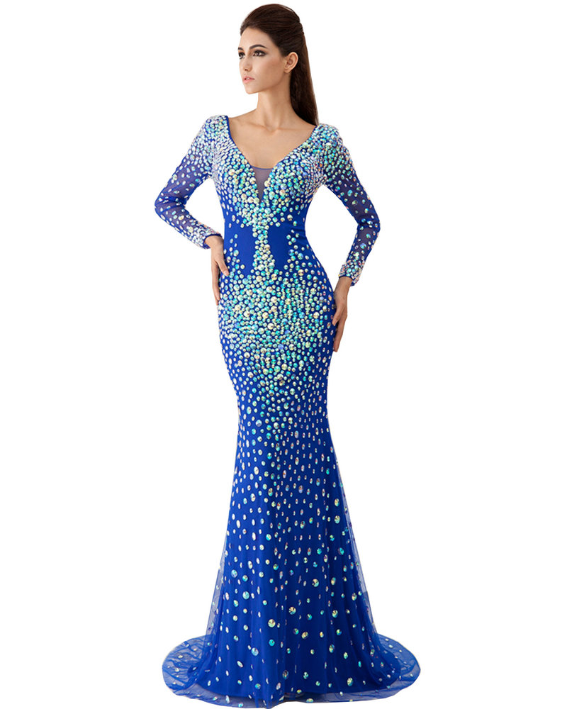 Royal Blue Mermaid Dresses Evening Dresses with Stones Long Formal ...