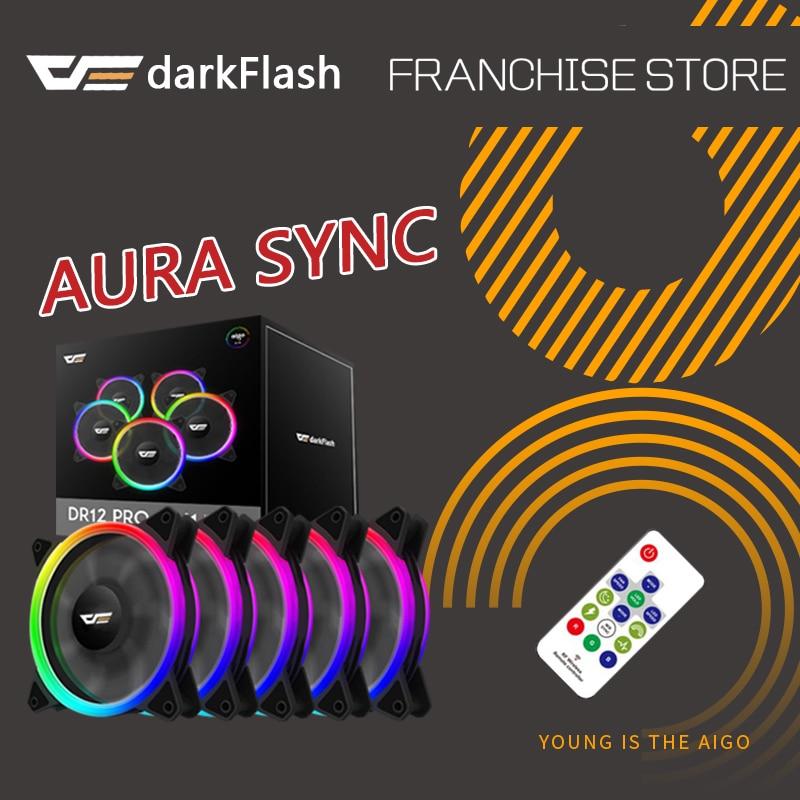 Darkflash DR12-PRO aura sync caso ventilador de refrigeración RGB ajustar LED 120mm tranquilo IR ordenador remoto de enfriamiento del refrigerador RGB ventilador de caja