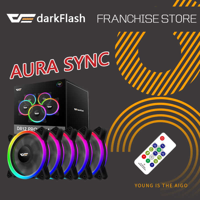 darkflash DR12-PRO aura sync Computer Case Cooling Fan RGB Adjust LED 120mm  Quiet IR Remote computer Cooler Cooling RGB Case Fan