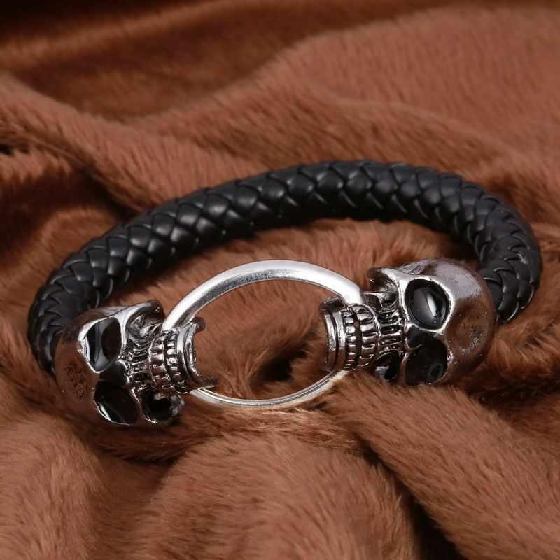 Punk Mannen Sieraden Zwart Gevlochten Lederen Armband Rvs Skull Magnetische Sluiting Fashion Armband Armbanden Mannen Sieraden