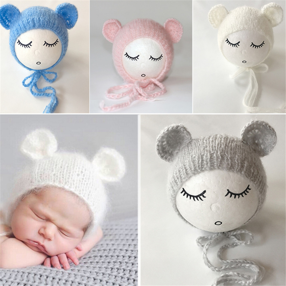 Baby Ears Bear Hats Newborn Mohair Photography Costume Props Kawaii Baby Caps Crochet Beanies Infant Photography Accessories