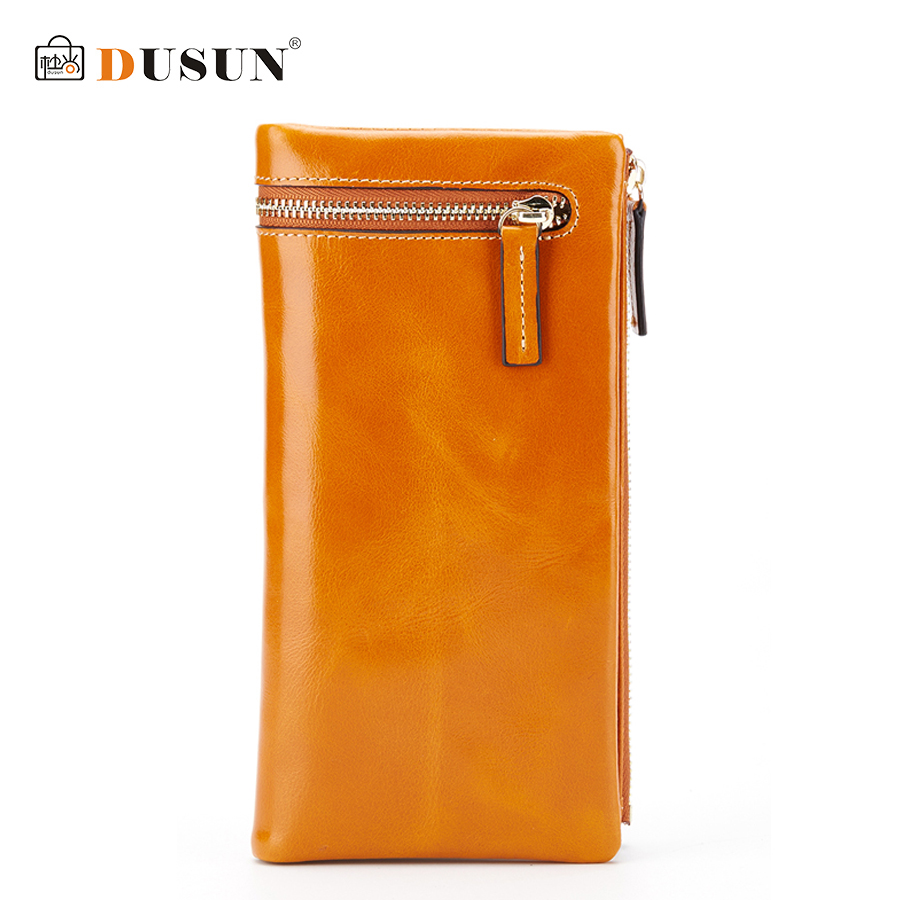 ФОТО DUSUN Women Genuine Leather Wallets Woman Casual Zipper Carteira Fashion Metal Lock Colorful Vintage Style Feminina 2016 New