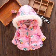 Winter Infant Down Jacket Girls Cotton Coats Faux Fur Hat Jackets