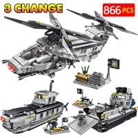 866pcs City Technic Conveyor LegoINGLYs Swat Police Commandos Assemble Military Submarine Aircraft Blocks Bricks Toys For Boys