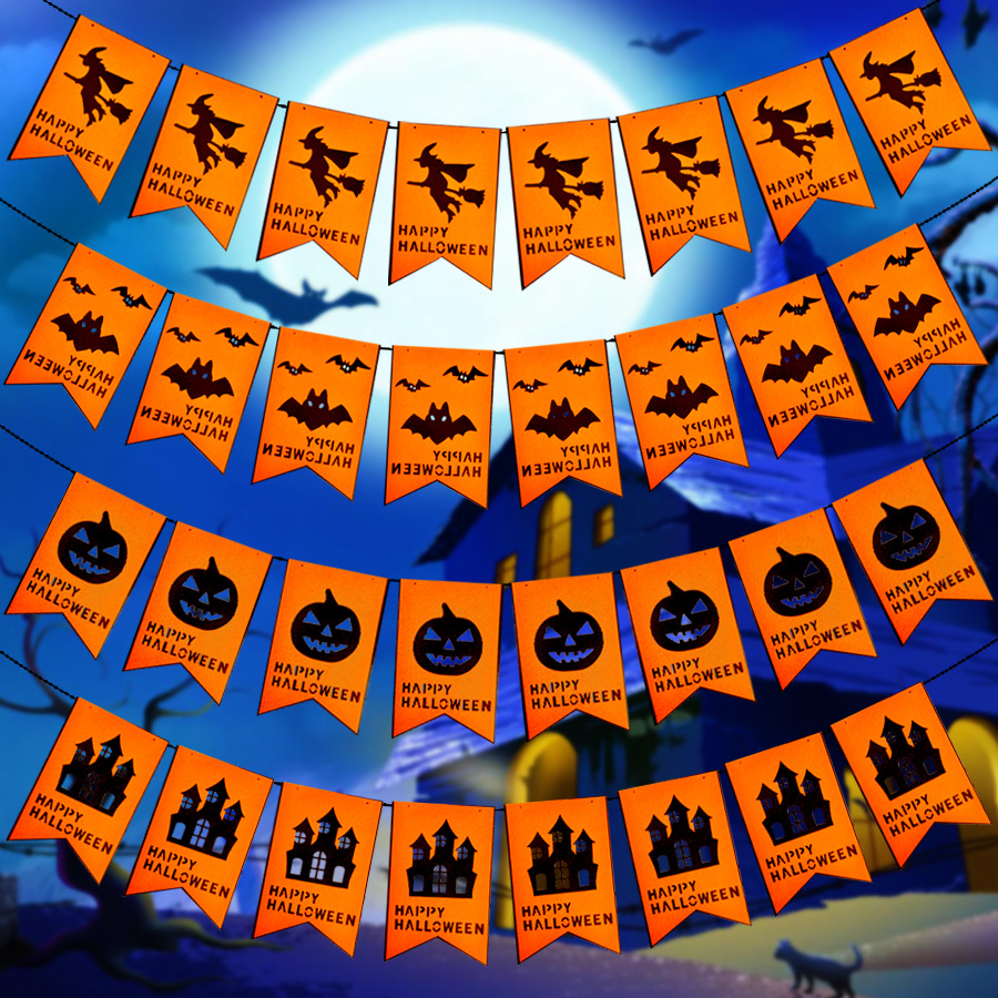 1pcs double layer paper garland halloween decorations pumpkin bat witch house shape event birthday party venue