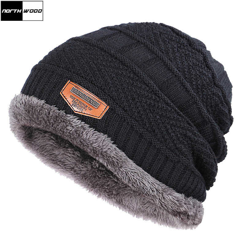 [NORTHWOOD] High Quality Classic Plus Velvet Winter Beanie Hat Men Women Knitted Cap Bonnet Skullies Beanie Casual Warm Hats