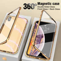 Double Sided Tempere Glass Magnetic Metal Case For iPhone 7 8 Plus 6 6S Plus X XS XR XS Max Magnet Aluminum Screen Touch Cover