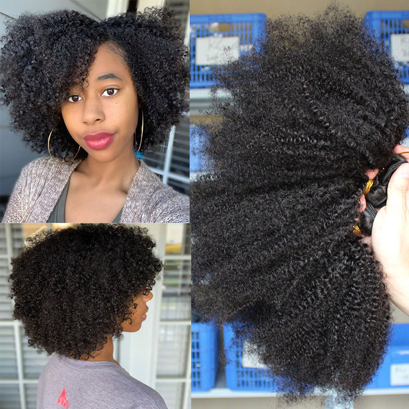 Mongolian Afro Kinky Curly Hair Extension Weave Human Hair Bundles 4B 4C Remy Hair 1 Or 3pcs Natural Color You May