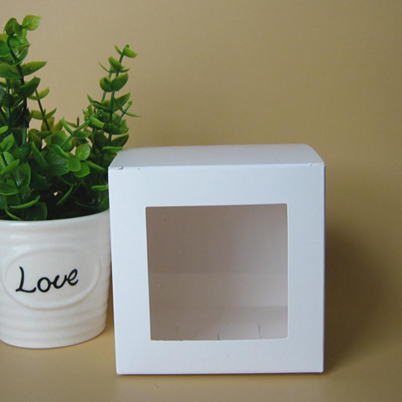 50 Pcs Lot Blanc Papier Cadeau Boite Avec Fenetre Pvc Pour L