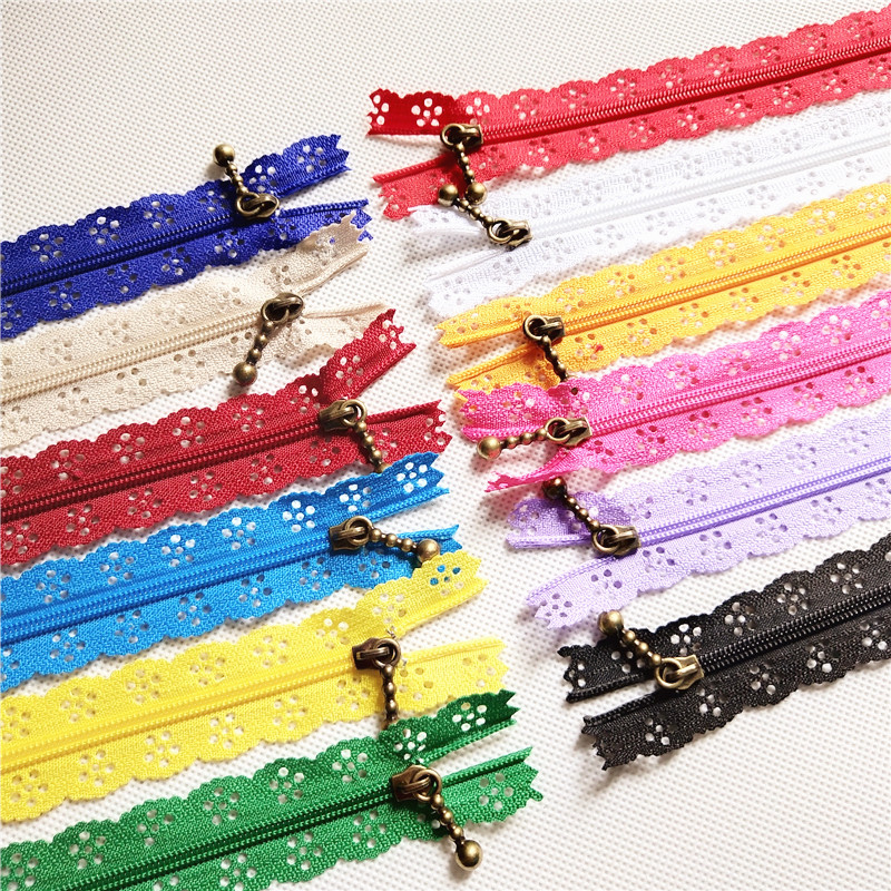 3# 10pcs mix Quality Novelty Length 40cm 16 inch DIY Nylon Coil Flower Zipper Lace Zippers for DIY Sewing Tailor Craft Bed Bag