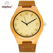 IBigboy Reloj Hombres Relojes de Madera De Bambú Estilo de Negocios Brown Banda de Cuero Genuino Movimiento de Cuarzo De Japón de Los Hombres Relojes Casuales