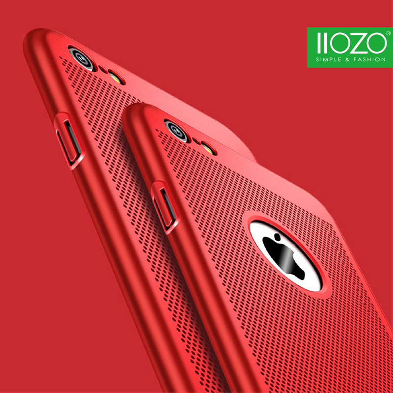 IIOZO Luxury Breath Phone Case para iPhone 8 7 6 6s Plus X Thin Slim Hard PC Cover Shell Disipación de calor Case para iphone 5 5S SE