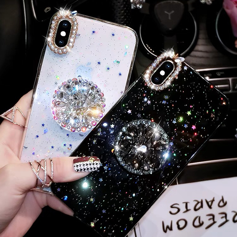 Glitter marble diamond ring holder silicone phone case for iphone 7 8 6 S plus X XR XS