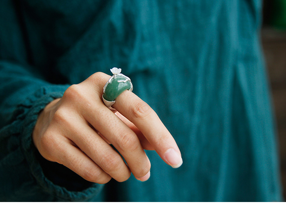 Silver with Green Stone-9