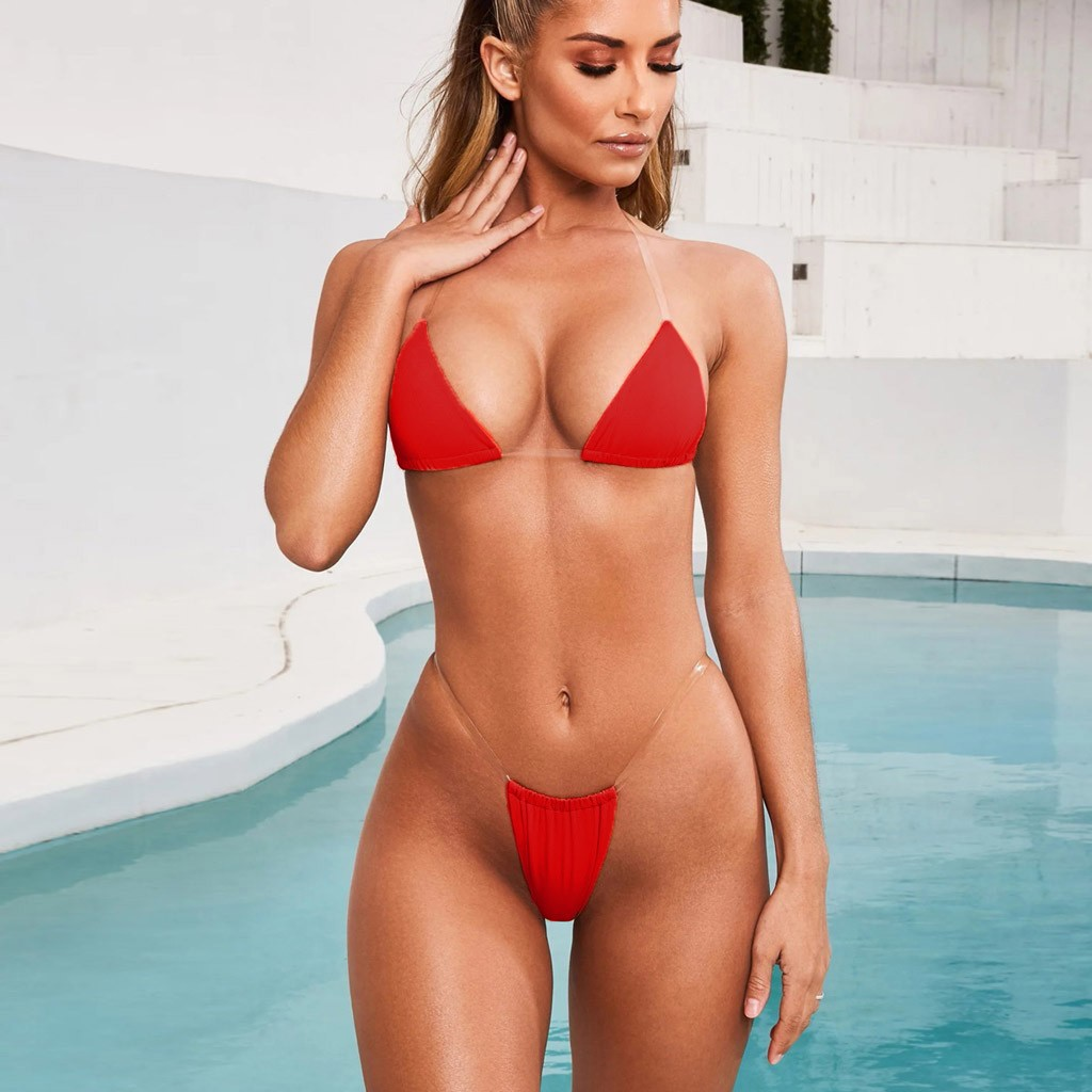 Sexy Bikini Swimsuit Micro Bikini New Fashion Women Sexy Lingerie Underwear Bra G-string Transparent High Waist Bikini