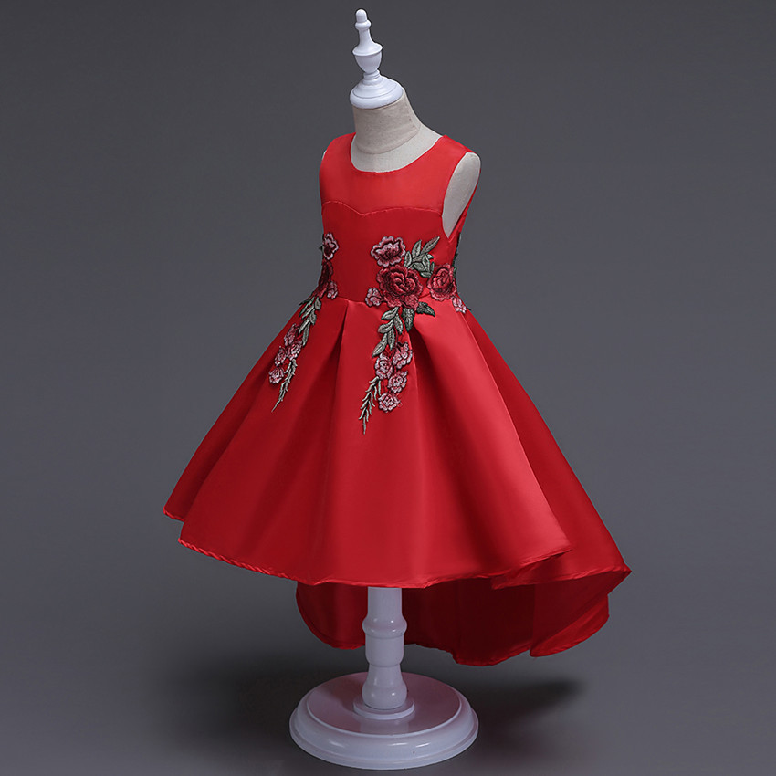Christmas Kids Dresses For Girls Birthday Party Wedding Lace Red Blue Floral Embroidery Girl Dress  Age 2 3 4 5 6 7 8 9 10 Years 2017 girls princess dresses kids bridesmaids clothes long dress children red prom dress for party and wedding 4 5 6 7 8 9 10 yrs