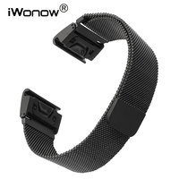 26mm Easy Fit Milanese Watchband Quick For Garmin Fenix 3 HR 5X Stainless Steel Watch Band