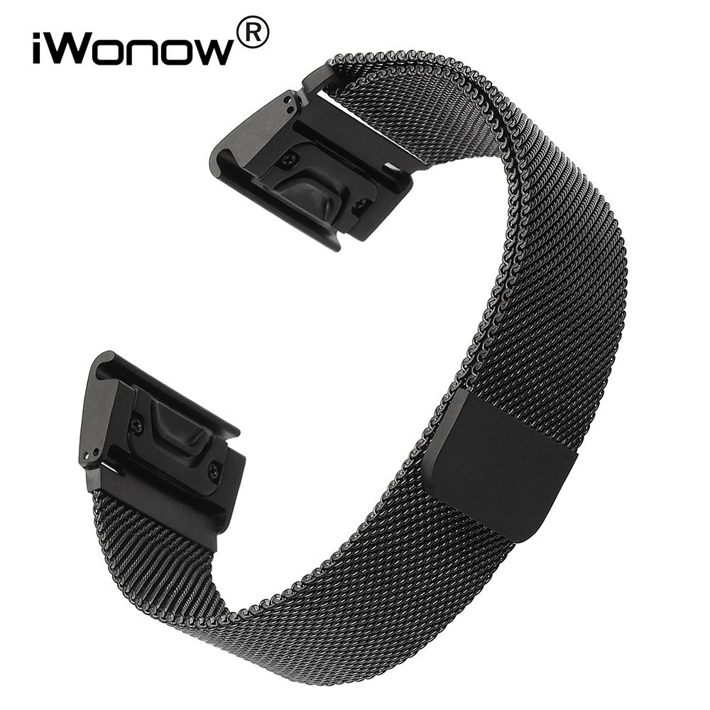 26mm Easy Fit Milanese Watchband Quick for Garmin Fenix 3 / HR / 5X  Stainless Steel Watch Band Magnet Strap Wrist Belt Bracelet replacement silicone watch strap wrist band for garmin fenix5 fenix 5 garmin forerunner 935 gps watch quick release watchbands