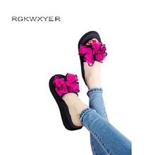RGKWXYER New Fashion Bowknot Platform beach Slippers Leisure Wedges Shoes Comfortable Joker Womens High Heels
