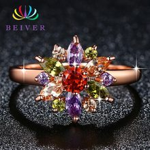 Beiver Multi-color Zircon Stone Flower Ring for Women Rose Gold Color Engagement / Party Jewelry marulong s0002 women s fashionable flower pattern short sleeved nightdress green multi color