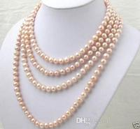 Lovely 7 8MM pink pearl long necklace 100