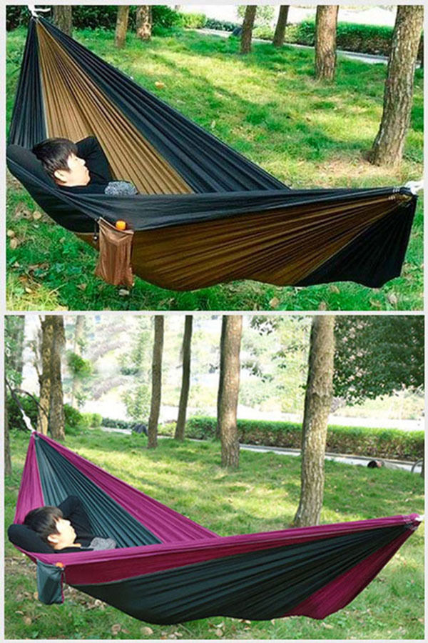Portable Nylon Hammock Sleeping Bed Swing Outdoor Camping Travel With Carry Bag furniture size hanging sleeping bed parachute nylon fabric outdoor camping hammocks double person portable hammock swing bed
