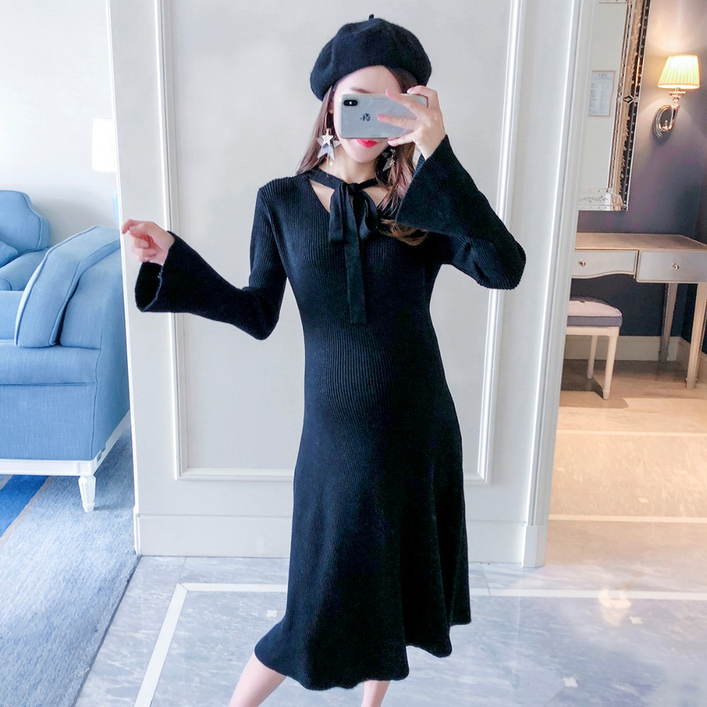 2018 new temperament sweater pregnant women sweater autumn and winter fashion models loose slimming maternity dress pregnant women sweater autumn 2018 new fashion long sweater dress korean v neck loose maternity dress