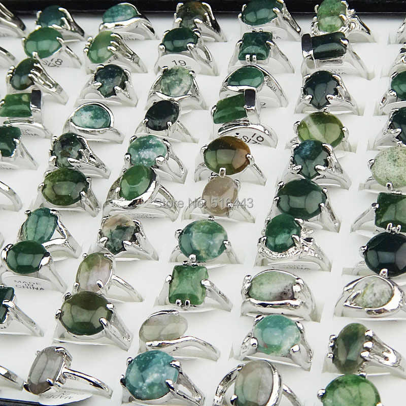 Wholesale Jewelry Lots 50pcs 100% Natural Green Stones Tourmaline Stones Mix Style Silver Rings for Womens Mens Fashion A002
